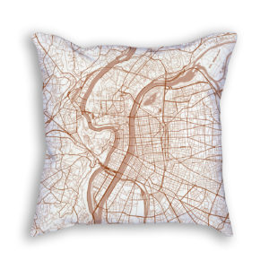 Lyon France City Map Art Decorative Throw Pillow