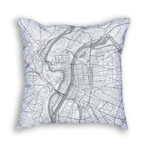 Lyon France City Map Art Decorative Throw Pillow