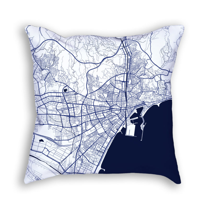 Malaga Spain City Map Art Decorative Throw Pillow