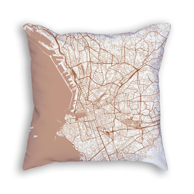 Marseille France City Map Art Decorative Throw Pillow