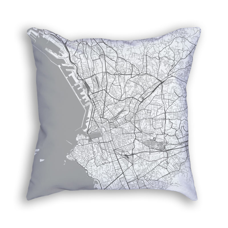 Marseille France City Map Art Decorative Throw Pillow