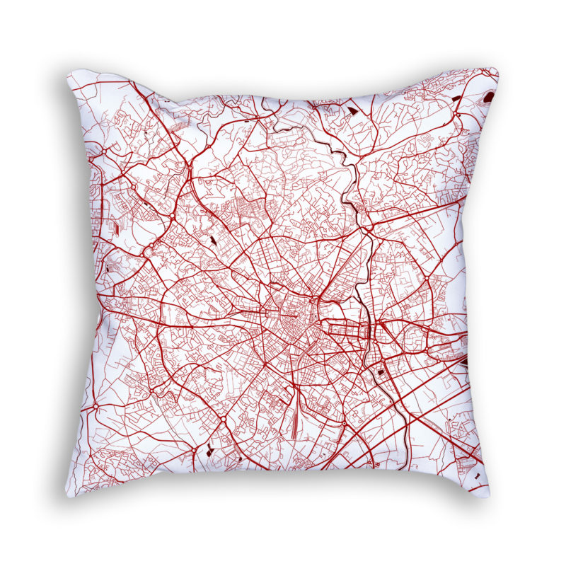 Montpellier France City Map Art Decorative Throw Pillow