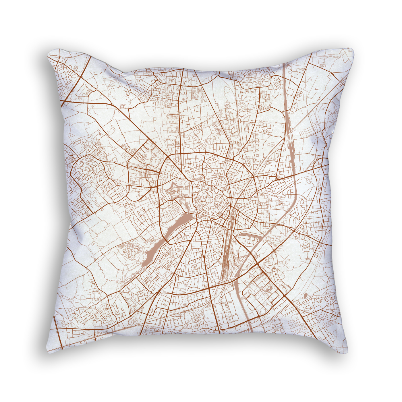 Munster Germany City Map Art Decorative Throw Pillow