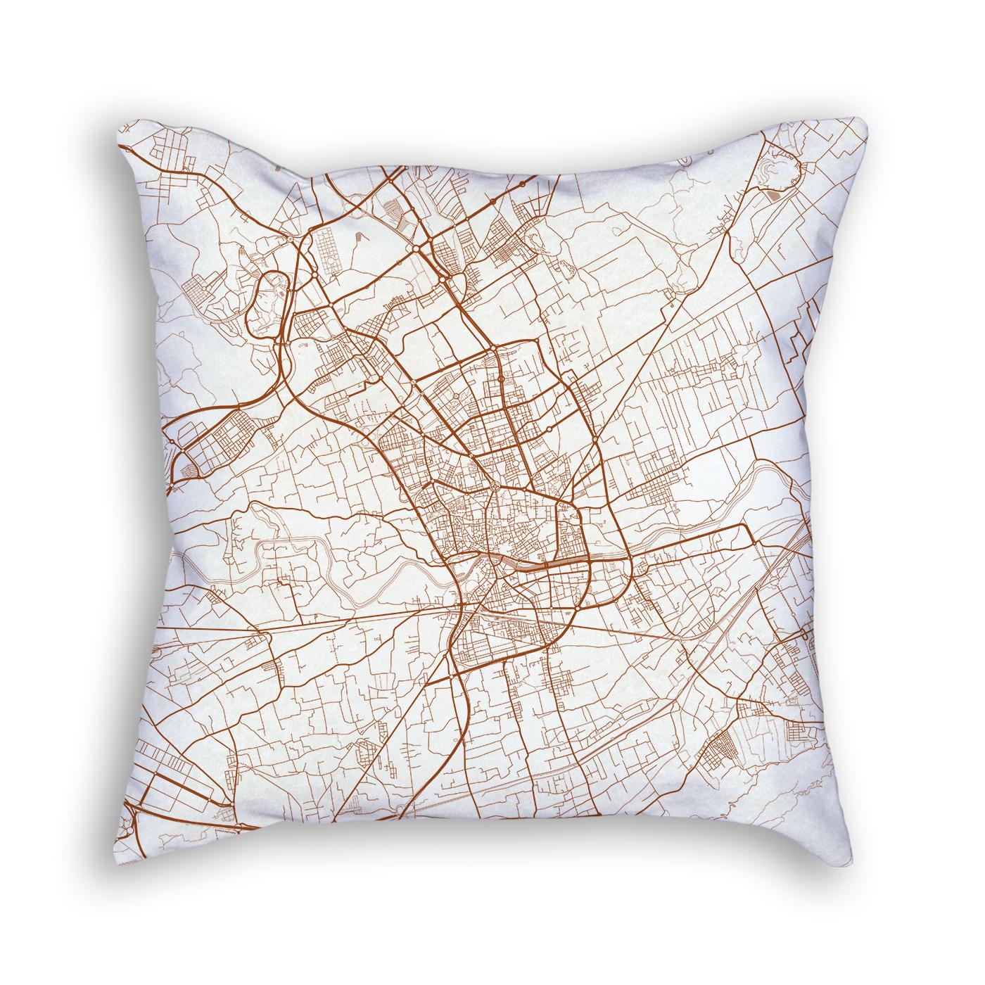 Murcia Spain City Map Art Decorative Throw Pillow