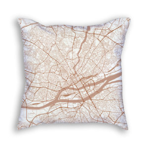 Nantes France City Map Art Decorative Throw Pillow