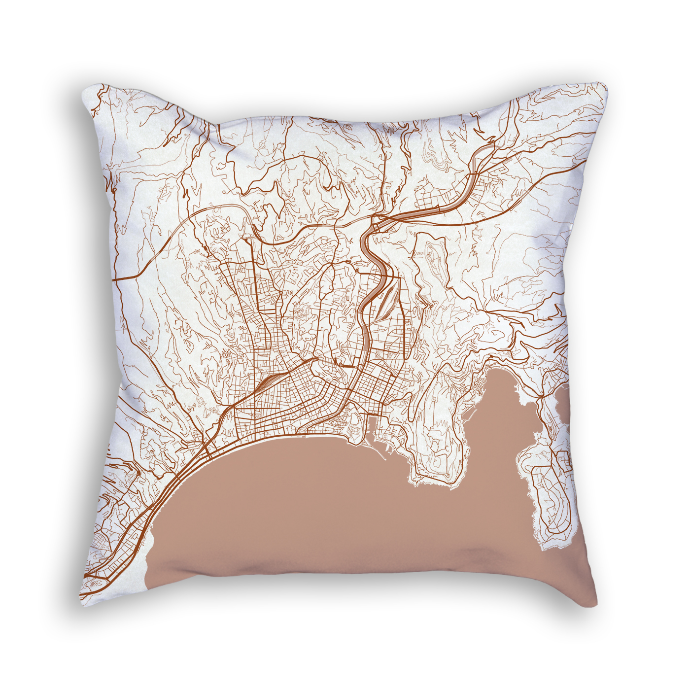 Nice France City Map Art Decorative Throw Pillow
