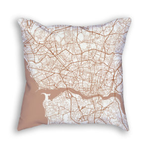 Porto Portugal City Map Art Decorative Throw Pillow