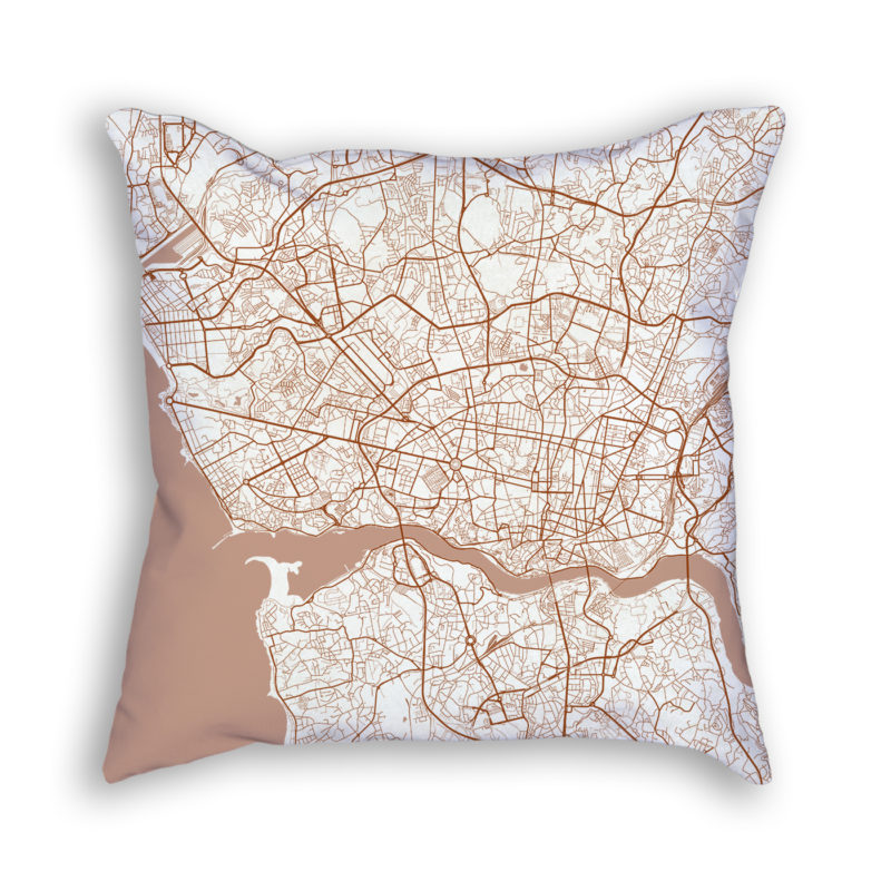 Porto Portugal City Map Art Decorative Throw Pillow