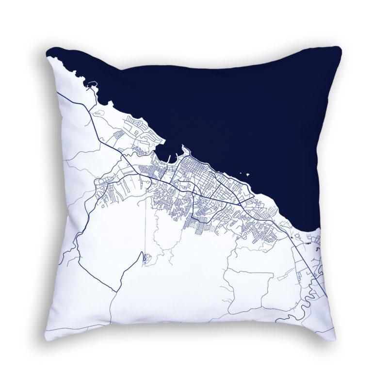 Puerto Plata Dominican Republic City Map Art Decorative Throw Pillow
