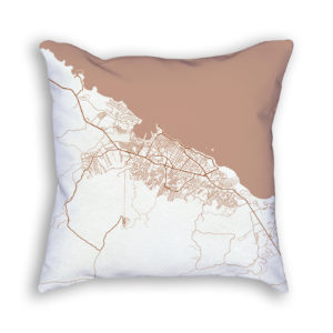 Puerto Plata Dominican Republic City Map Art Decorative Throw Pillow