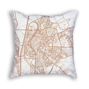 Seville Spain City Map Art Decorative Throw Pillow