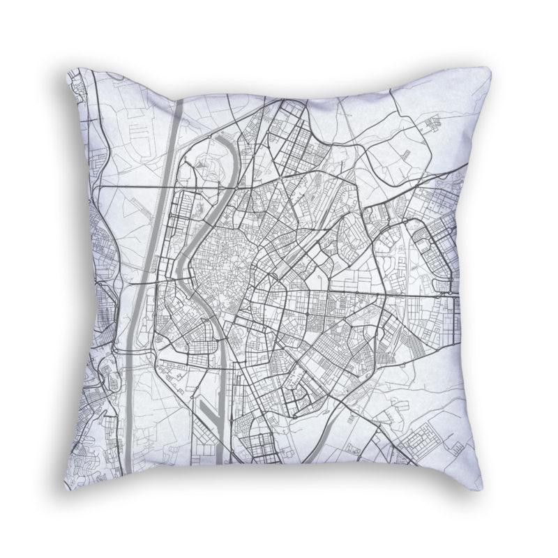 Seville Spain City Map Art Decorative Throw Pillow