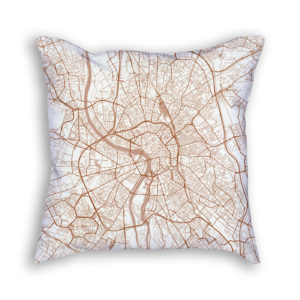 Toulouse France City Map Art Decorative Throw Pillow
