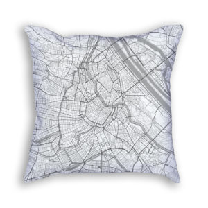 Vienna Austria City Map Art Decorative Throw Pillow
