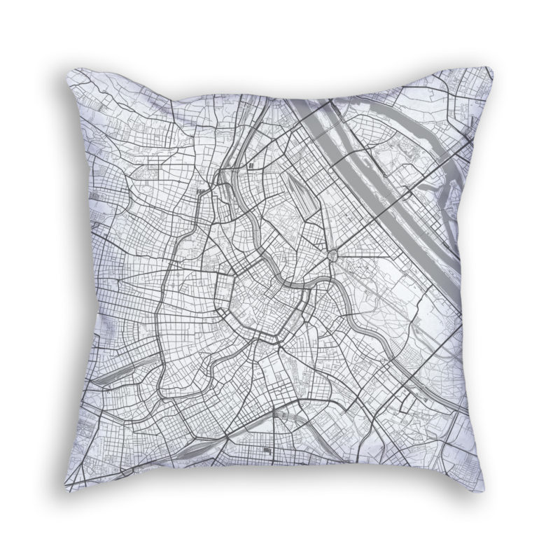 Vienna Austria City Map Art Decorative Throw Pillow