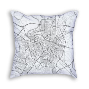 Zaragoza Spain City Map Art Decorative Throw Pillow