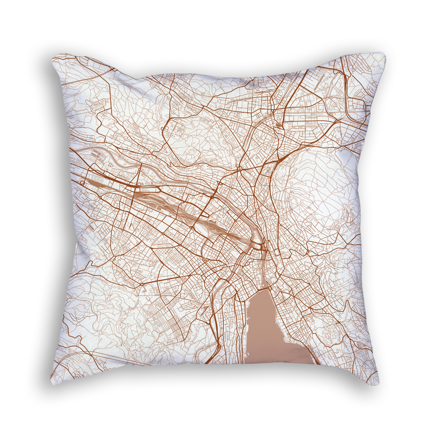 Zurich Switzerland City Map Art Decorative Throw Pillow