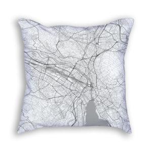 Zurich Switzerland City Map Art Decorative Throw Pillow