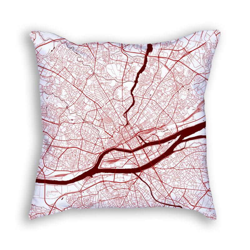 Nantes France City Map Art Decorative Throw Pillow