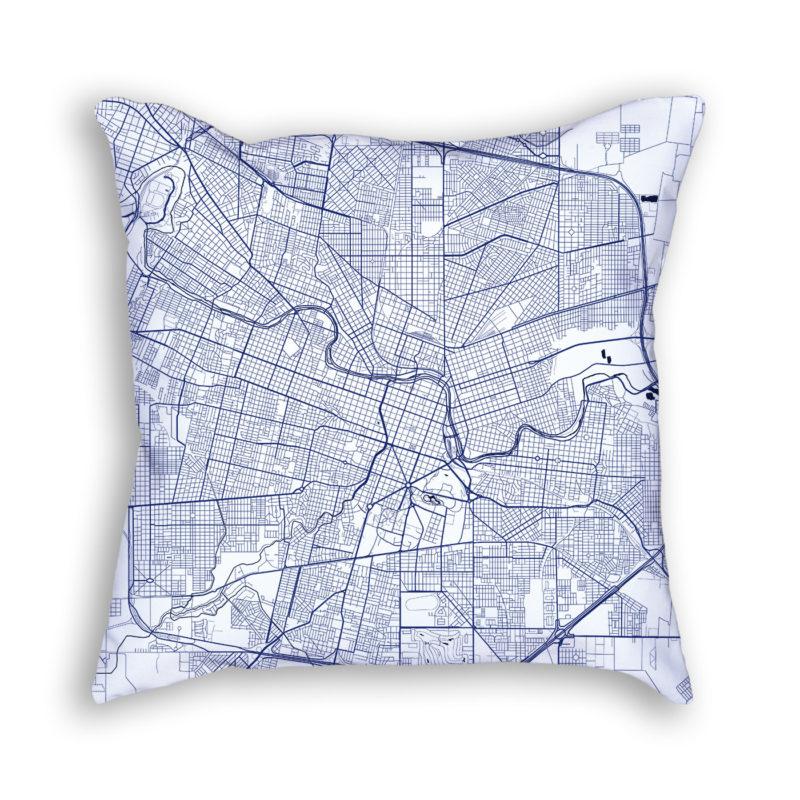 Cordoba Argentina City Map Art Decorative Throw Pillow