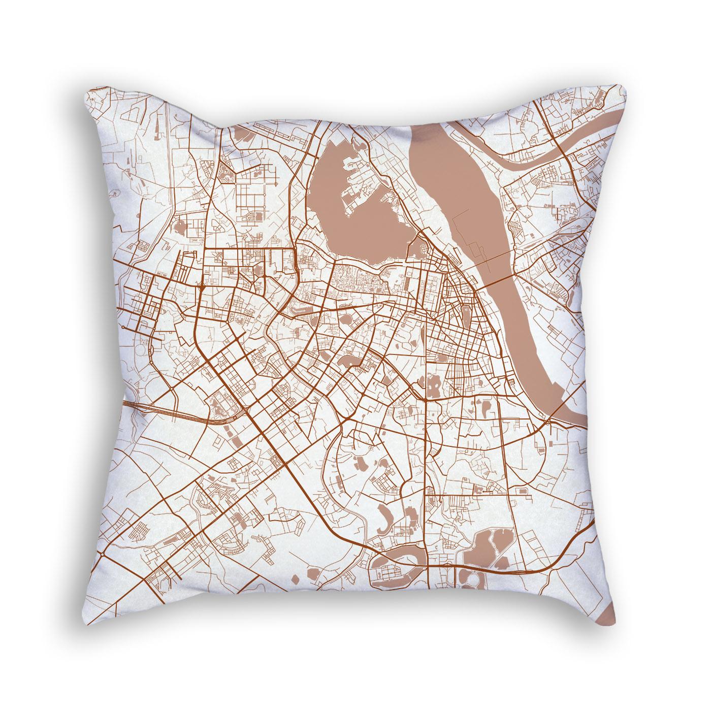 Hanoi Vietnam City Map Art Decorative Throw Pillow