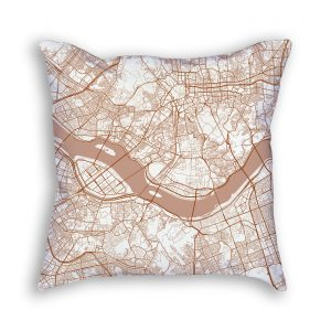 Seoul South Korea City Map Art Decorative Throw Pillow