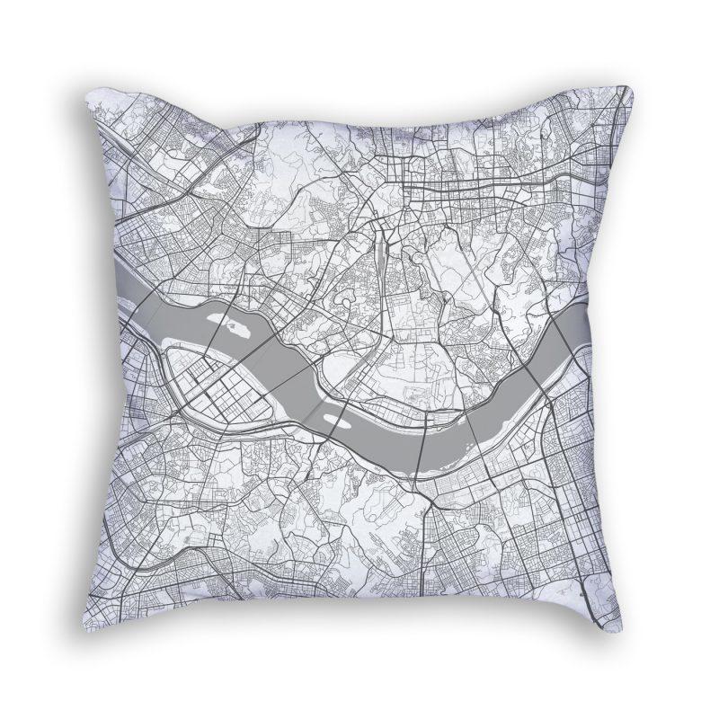 Seoul South Korea City Map Art Decorative Throw Pillow
