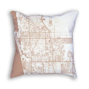 Bonita Springs Florida City Map Art Decorative Throw Pillow