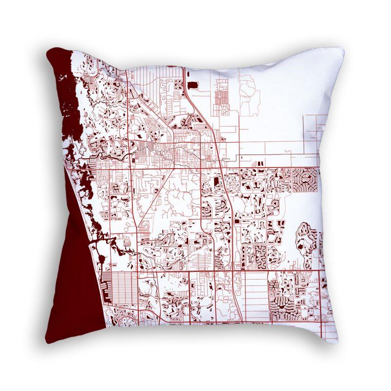 Bonita Springs Florida City Map Art Decorative Throw Pillow