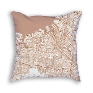 Fukuoka Japan City Map Art Decorative Throw Pillow