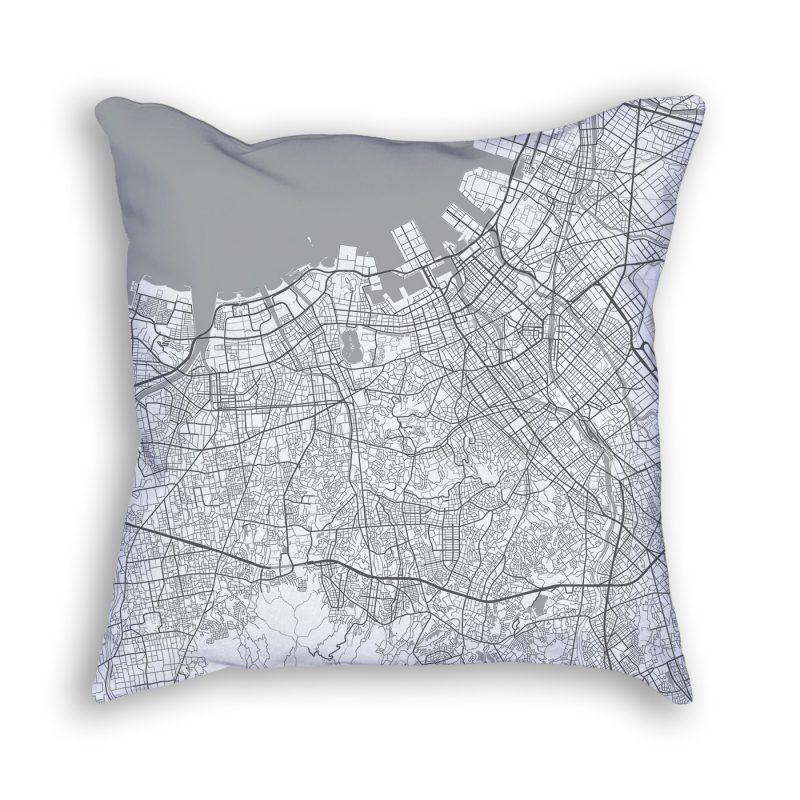 Fukuoka Japan City Map Art Decorative Throw Pillow