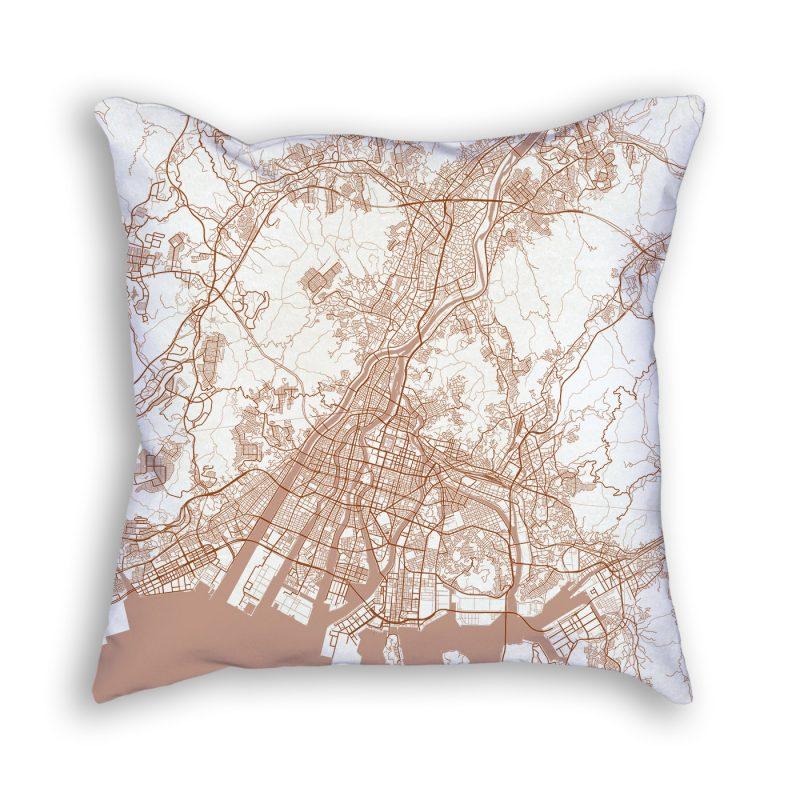 Hiroshima Japan City Map Art Decorative Throw Pillow