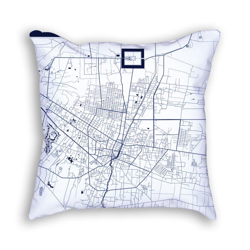 Krong Siem Reap Cambodia City Map Art Decorative Throw Pillow