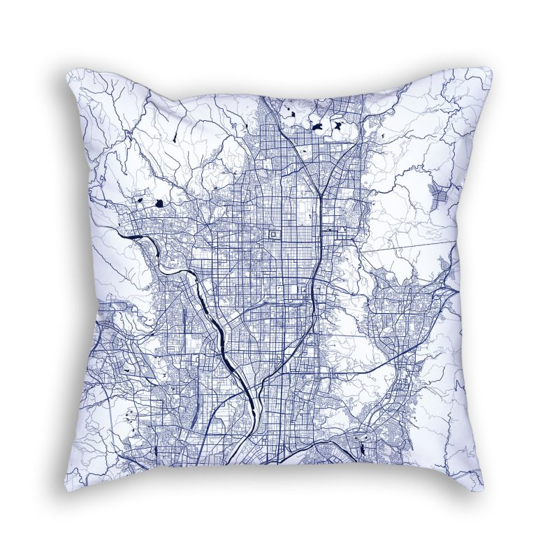 Kyoto Japan City Map Art Decorative Throw Pillow