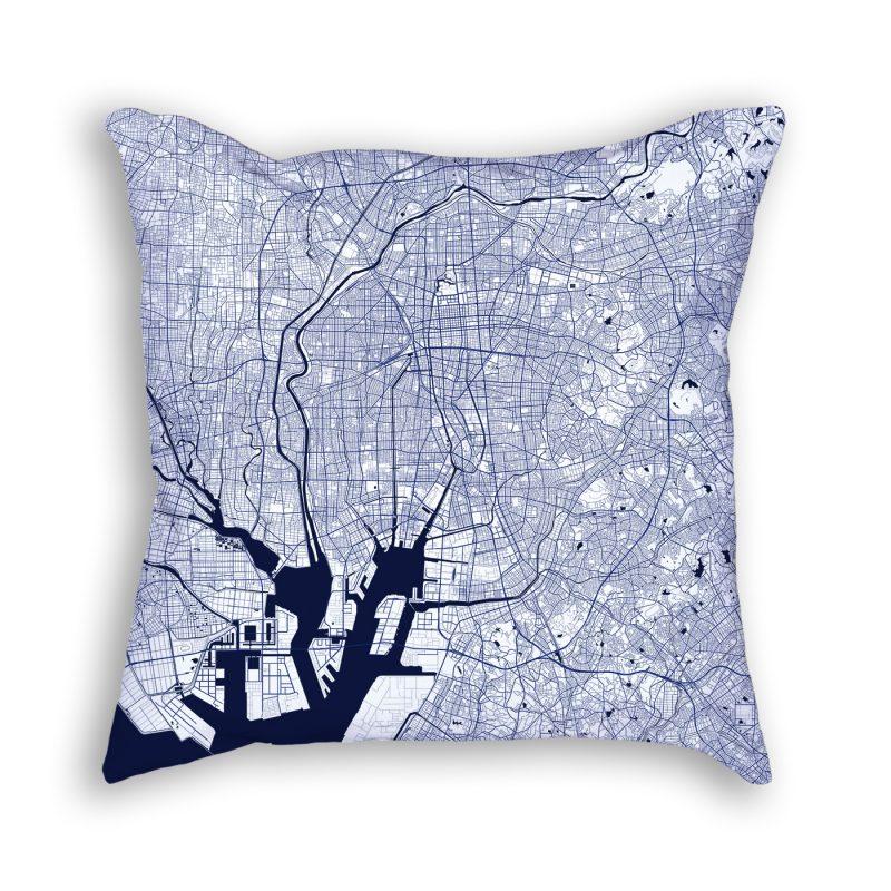 Nagoya Japan City Map Art Decorative Throw Pillow