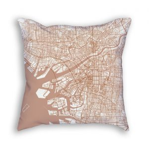 Osaka Japan City Map Art Decorative Throw Pillow