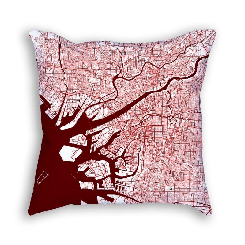Osaka Japan City Map Art Decorative Throw Pillow