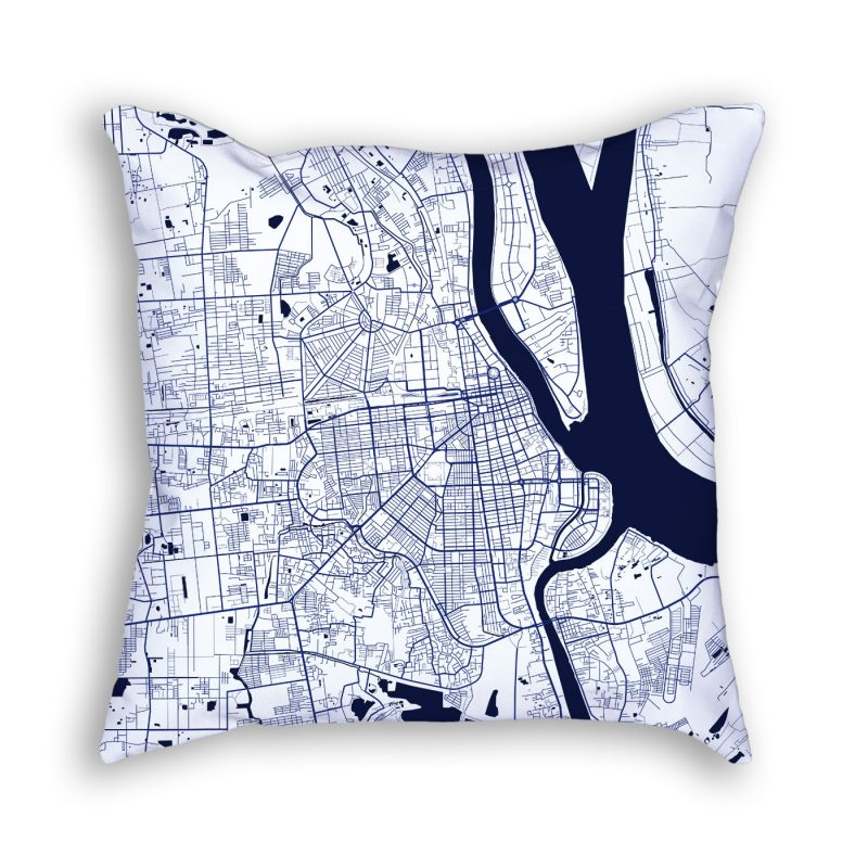Phnom Penh City Map Art Decorative Throw Pillow