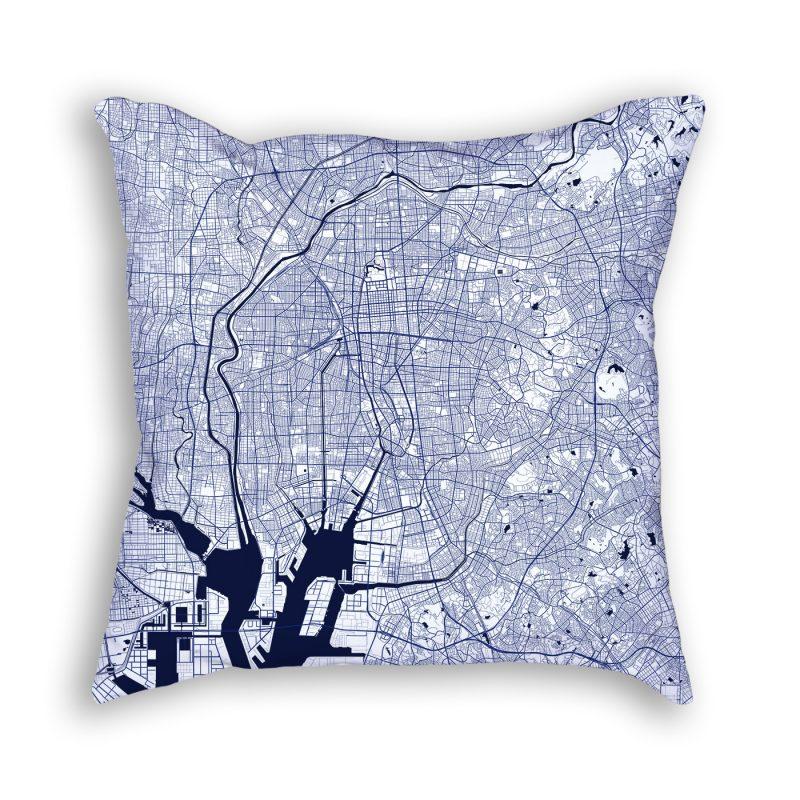 Tokyo Japan City Map Art Decorative Throw Pillow