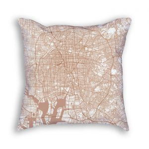 Tokyo Japan City Map Art Decorative Throw Pillow