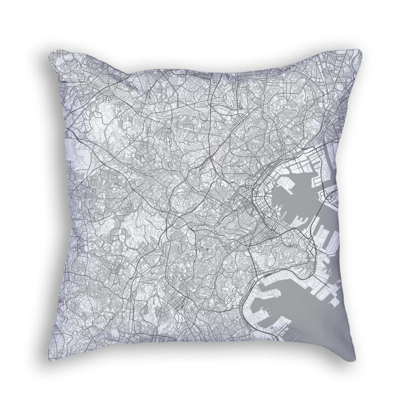 Yokohama Japan City Map Art Decorative Throw Pillow